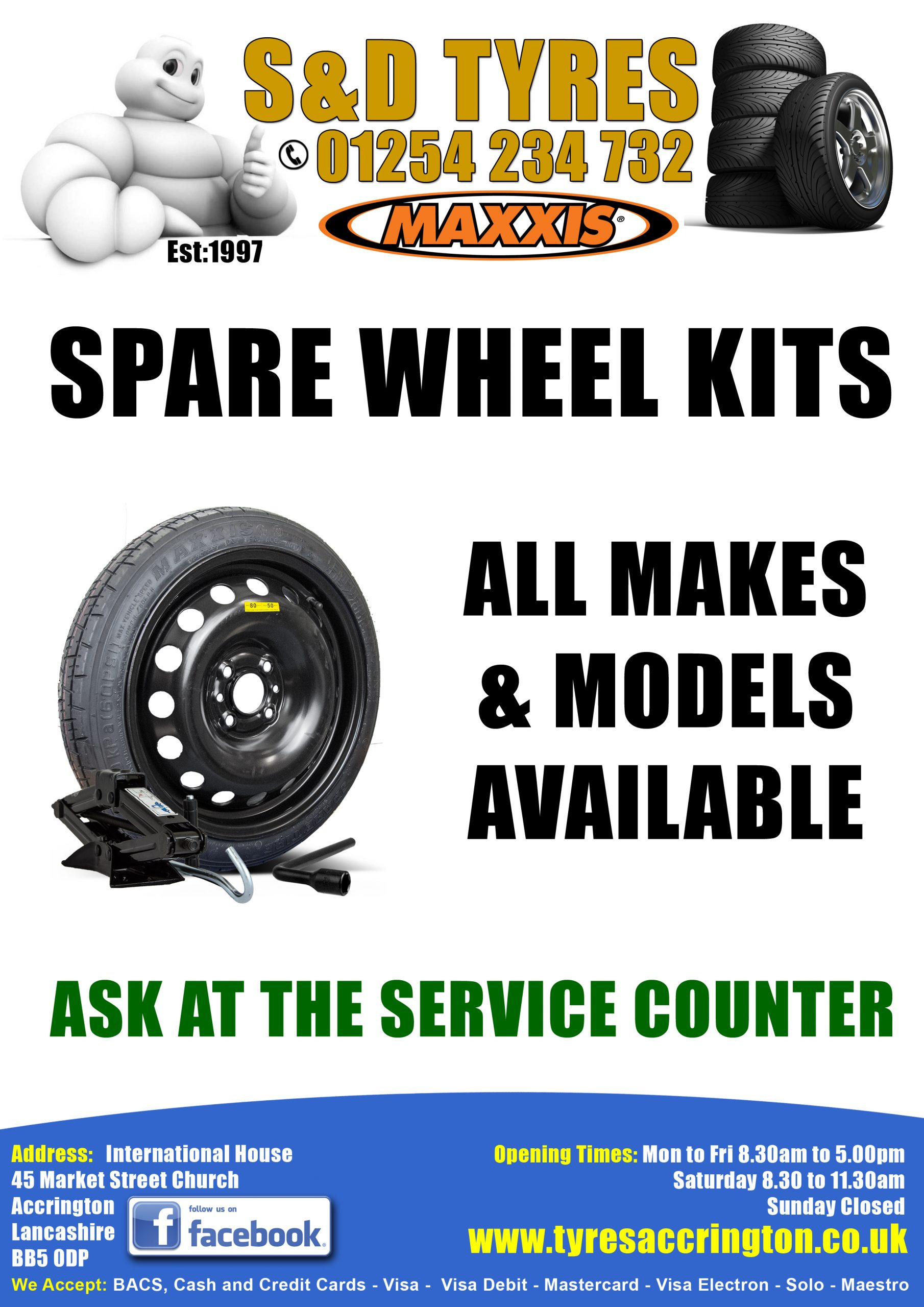 SPARE WHEEL KIT S & D TYRES
